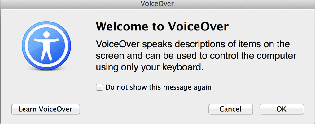 Welcome to voiceover on Mac screenshot