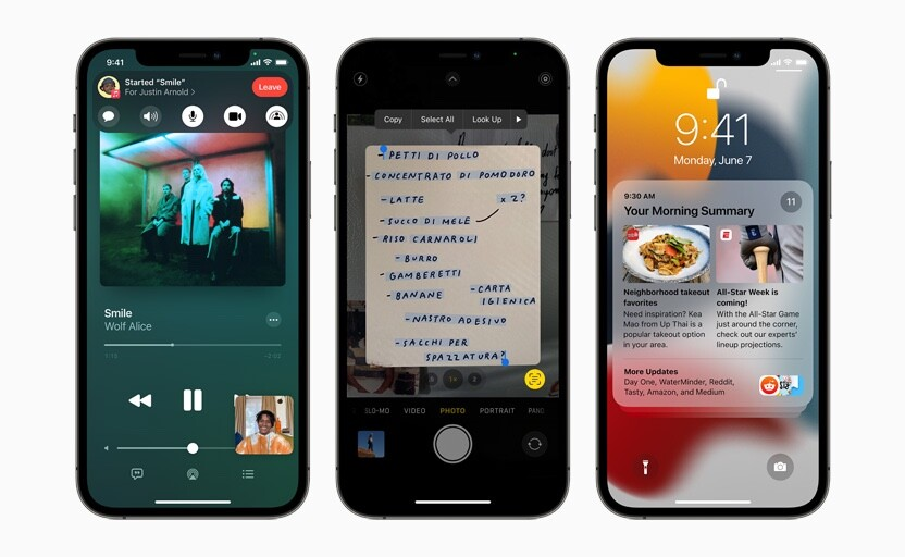 Three iPhone 12 Pro devices showing new SharePlay, Live Text, and notification summary features.